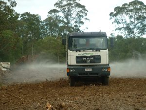 Spreading Lime on New Pasture