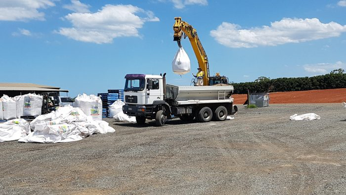 Loading fertiliser into truck