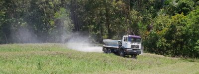 Spreading lime on a paddock