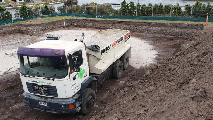 Preparing soil with lime